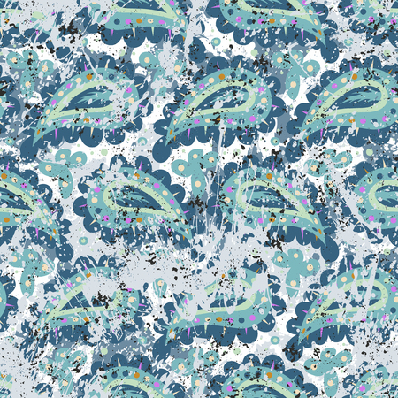 Hand drawn paisley vector seamless pattern with brushstrokes and paint splash. Illustration