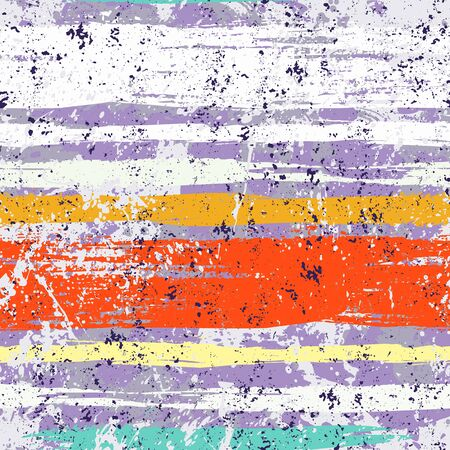 Striped pattern with brushed lines and stripes in bright colors. Vector grunge geometric texture with paint splatter and splash. Hand drawn bold background with ethnic, tribal motif