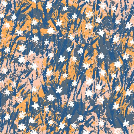 Vector floral grunge pattern on splashed and splattered watercolor paint. Illusztráció