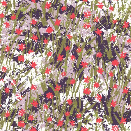 Vector floral grunge pattern on splashed and splattered watercolor paint. Modern print with small ditsy flowers in bright colors on hand drawn background. Seamless bohemian texture in boho chic style