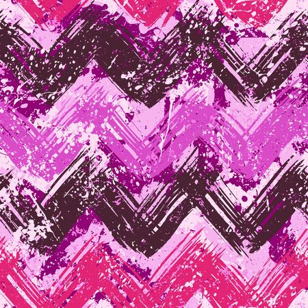Grunge chevron vector pattern on splashed and splattered watercolor paint . Bold zigzag print with ethnic, tribal and retro motif in vintage boho chic style. Modern hand drawn texture in pink colors