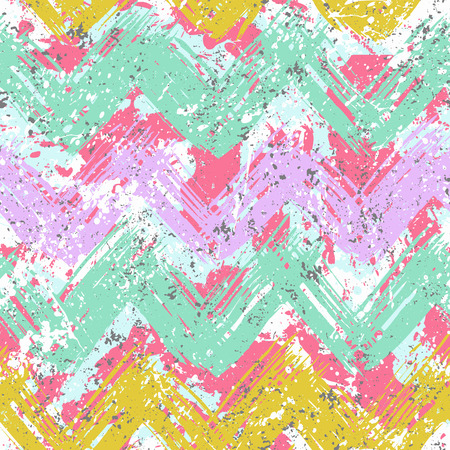 Grunge chevron vector pattern on splashed and splattered watercolor paint . Bold zigzag print with ethnic, tribal and retro motif in vintage boho chic style. Modern hand drawn texture in bright colors