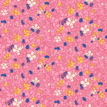 Vector floral grunge pattern in pink color. Modern print with small hand drawn ditsy flowers.