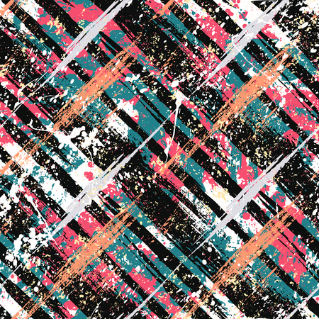 Vector seamless bold plaid pattern with wild crossing brushstrokes and thin stripes, hand drawn in variety of sporty pink colors for retro fashion on watercolor background with paint splatters