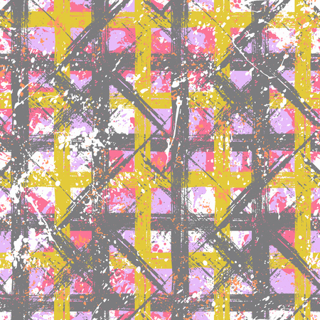 Vector seamless bold plaid pattern with wild crossing brushstrokes and thin stripes, hand drawn in variety of pastel colors for retro fashion on watercolor background with paint splatters Illustration