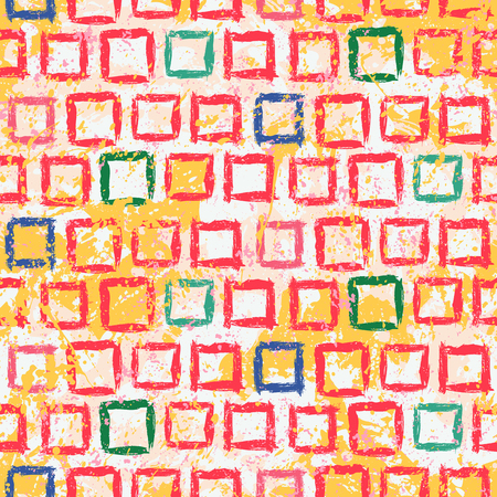 Hand drawn pattern with rows of small squares in children bright colors. Vector grunge geometric texture with paint splatter and splash. Bold bohemian background with ethnic, tribal motif