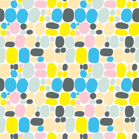 Abstraktion im modernen Stil mit Komposition aus verschiedenen abgerundeten Formen in gelbrosa Farbe. Vektorillustration und nahtloses Muster im Memphis-Stil mit Blasen und Kreisen Vektorgrafik