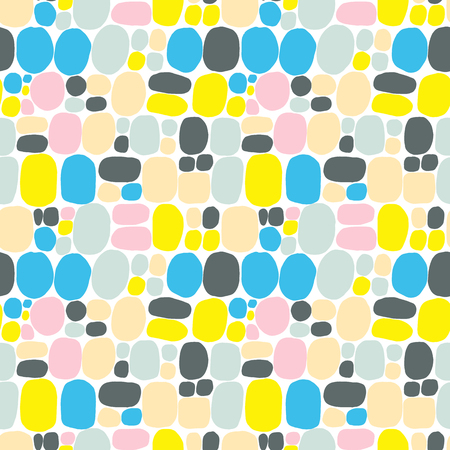 Modern style abstraction with composition made of various rounded shapes in yellow pink color. Vector illustration and seamless pattern in memphis style with bubbles and circles Vektorové ilustrace