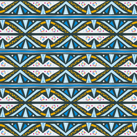 Vector geometric striped ethnic pattern with triangles, stripes, and dots. Tribal ethnic background in blue color for spring summer fashion. Bold print in bohemian and boho chic style for home decor