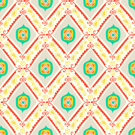 Vector geometric ethnic pattern with diamonds, triangles