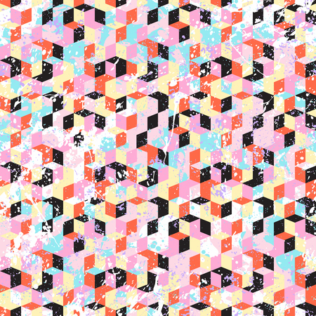 Vector geometric seamless pattern with 3d cubes and diamond shapes in memphis color. Blocked modern bold print for sport fashion. Abstract geometric techno background with paint splash and splatter