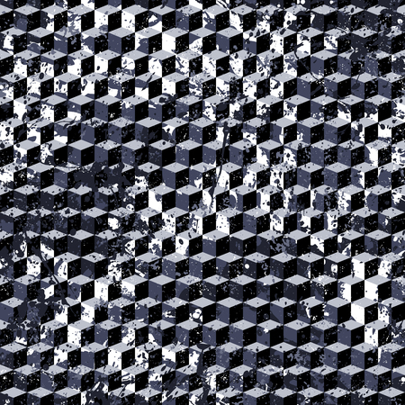 Vector geometric seamless pattern with cubes and overlapping shapes in black and white. Blocked modern bold print for sport fashion. Abstract dynamic techno background with paint splash and splatter  イラスト・ベクター素材