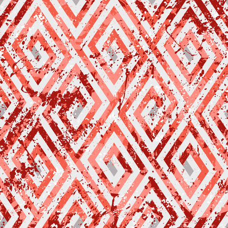 Abstract ethic geometric pattern with maze, diagonal stripes and lines in red. Op art seamless geometric background. Bold tribal print with ethnic african motif and watercolor paint Illustration