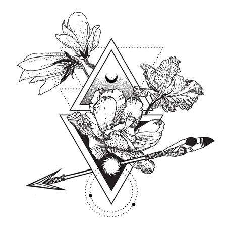 Vector símbolo de alquimia geométrica con flores, luna, sol Ilustración de vector