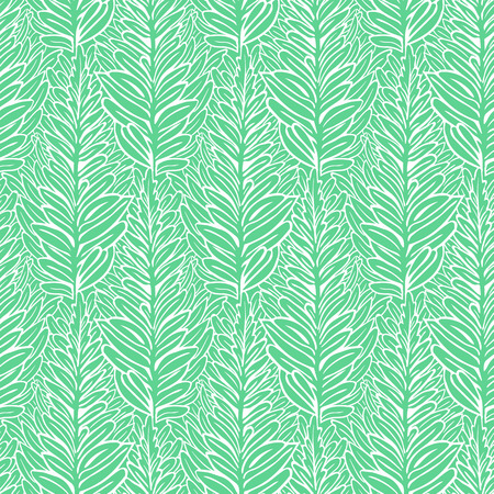 Vector spring seamless pattern with striped fern leaves in aqua blue. Elegant modern spring background. Bold print with leafs and foliage for summer decor. Simple summer botanical texture with fern