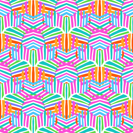 Vector bold striped pattern with geometric motif