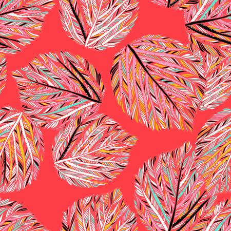 Vector elegant seamless pattern with striped leaves