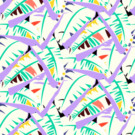 Tropical vector pattern with banana leaves in bright color