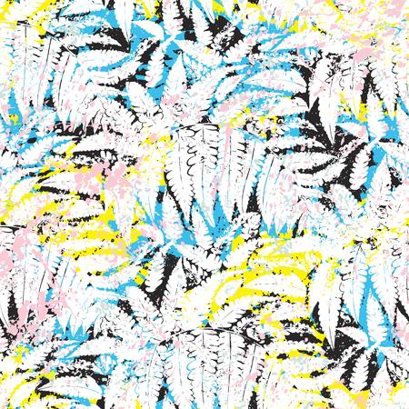 Modello vettoriale tropicale con sagome di fogliame della giungla