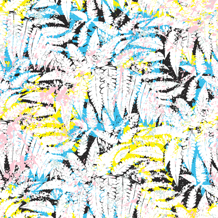 Tropical vector pattern with jungle foliage silhouettes Çizim