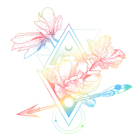 Vector geometric hologram alchemy symbol with flowers, moon, sun Иллюстрация