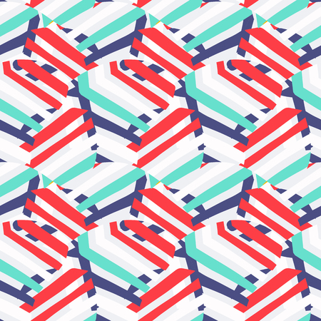 Vector abstract striped pattern in vivid nautical color. Bold sporty geometric print with marine stripes for sport fashion and sportswear. Seamless background with lines, abstract round shapes, stripe