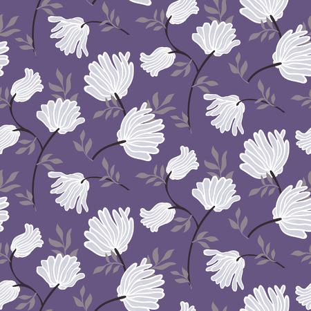 Motif floral sans couture de vecteur avec des fleurs vintage. Fond d'été moderne élégant. Imprimé grunge avec des fleurs blanches pour la décoration intérieure et la mode estivale. Texture rétro florale botanique avec des feuilles Vecteurs