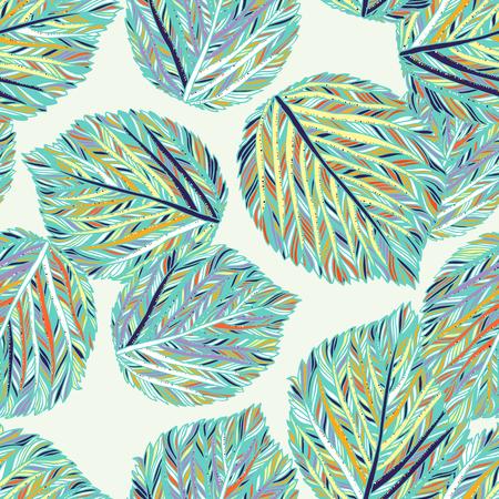 Modèle sans couture de vecteur avec des feuilles colorées à rayures. Fond d'automne moderne élégant. Imprimé vintage audacieux avec des feuilles pour la décoration intérieure et la mode automnale. Texture simple botanique pour emballage découpé au laser