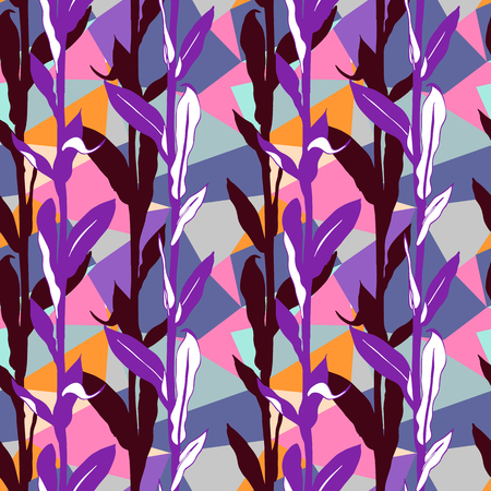 Vivid floral pattern with bright leaves and geometric motif. Seamless vector pattern in fall autumn color. Bohemian autumn leaves background in boho style. Vintage print with leaf for summer home decor