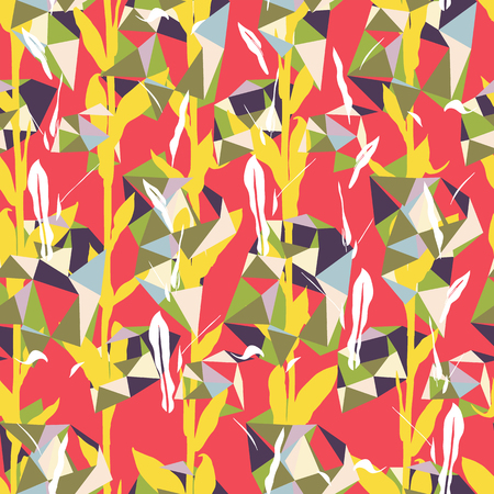 Organic floral pattern with leaves and geometric motif. Seamless vector pattern in fall autumn color. Bohemian autumn leaves background in bauhaus style. Vintage print with leaf for fall home decor