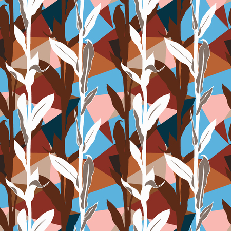 Organic floral pattern with leaves and geometric motif. Seamless vector pattern in fall autumn color. Bohemian autumn leaves background in geometric style. Vintage print with leaf for fall home decor