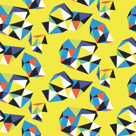 Vivid abstract pattern with composition of geometric shapes. Bold seamless vector pattern in autumn fall colors. Abstract sporty background with shapes in graffiti style. Sporty geometric techno print Ilustracja