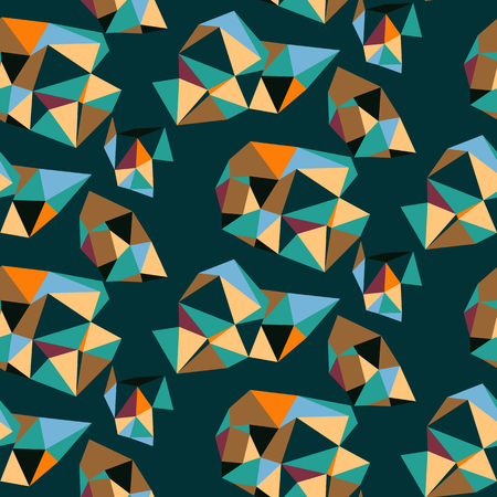 Sharp abstract pattern with composition of geometric shapes. Bold seamless vector pattern in autumn fall colors. Abstract sporty background with shapes in graffiti style. Sporty geometric techno print Ilustracja