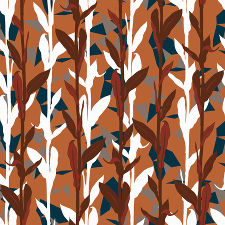 Organic floral pattern with leaves shapes and geometric motif. Seamless vector pattern in fall autumn color. Autumn leaves background with silhouettes. Vintage grunge print with leaf for fall textile