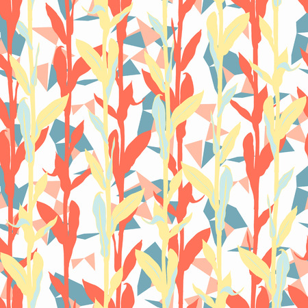 Grunge floral pattern with leaves shapes and geometric motif. Seamless vector pattern in fall autumn color. Autumn leaves background with silhouettes. Vintage grunge print with leaf for fall textile Ilustracja