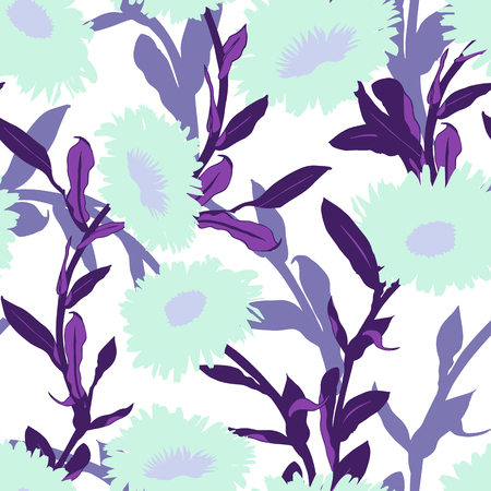 Vector floral pattern with bold flower shapes on white background. Seamless vector pattern in mint violet color. Autumn floral background in vintage style. Bold print with leaf and flower silhouettes