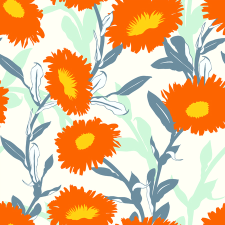 Vector floral pattern with bold flower shapes on white background. Seamless vector pattern in fall autumn color. Autumn floral background in vintage style. Bold print with leaf and flower silhouettes
