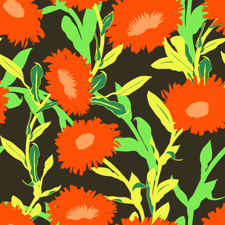 Vector floral pattern with bold red flower shape on dark background. Seamless vector pattern in fall autumn color. Autumn floral background in vintage style. Bold print with leaf and flower silhouette