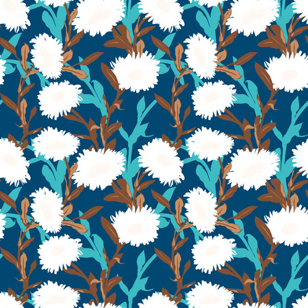 Vector floral pattern with bold flower shapes on blue background. Seamless vector pattern in fall autumn color. Autumn floral background in vintage style. Bold print with leaf and flower silhouettes Ilustracja