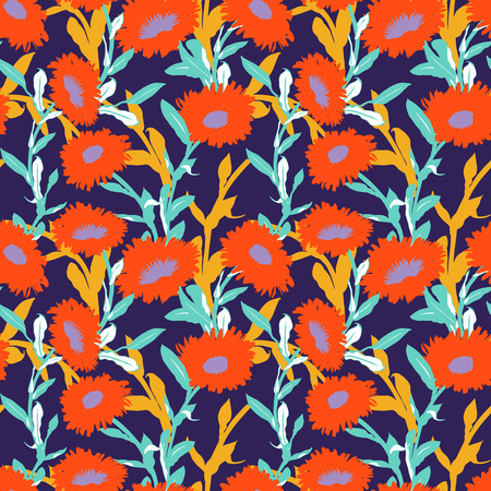 Vector floral pattern with bold flower shapes on dark background. Seamless vector pattern in fall autumn color. Autumn floral background in vintage style. Bold print with leaf and flower silhouettes