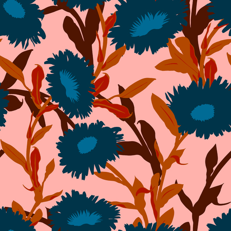 Vivid floral pattern with bold flowers. Seamless vector pattern in fall autumn color. Bohemian autumn floral background in boho style. Vintage print with leaf and flower silhouettes for summer decor Ilustracja