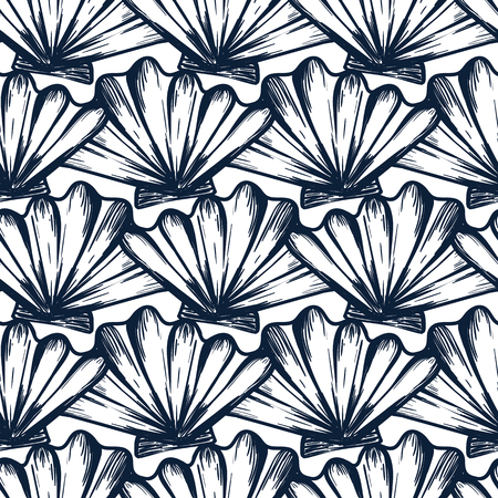 Vector seamless nautical pattern with shells in blue color. Abstract hand drawn texture in nautical style. Simple hand drawn pattern with shells. Vintage retro print for textile. Summer background