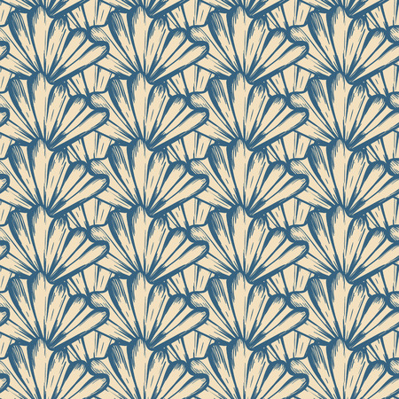 Vector seamless nautical pattern with shells in organic color. Abstract hand drawn texture in nautical style. Simple hand drawn design with shells. Vintage retro print for textile. Summer background Ilustracja