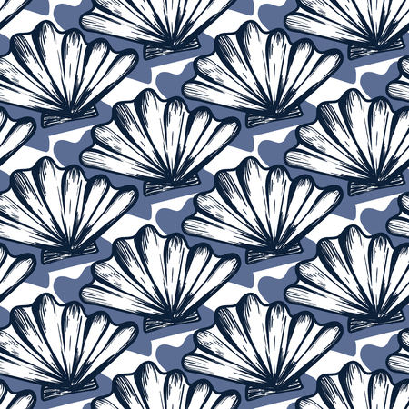 Vector seamless nautical pattern with shells. Abstract hand drawn texture on blue background. Simple hand drawn design with shell. Vintage retro print for textile fabric wallpaper. Summer background Ilustracja