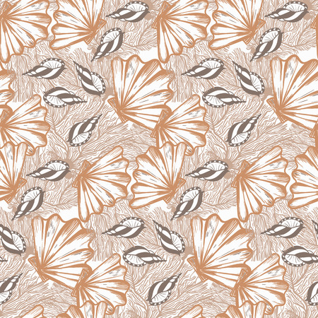 Vector seamless nautical pattern with shells in organic color. Abstract texture in nautical style. Simple hand drawn pattern with shells. Vintage retro print for textile and fabric. Summer background