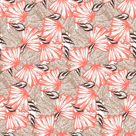 Vector seamless nautical pattern with shells in coral red color. Abstract texture in nautical style. Simple hand drawn design with shells. Vintage retro print for textile and fabric. Summer background Ilustracja