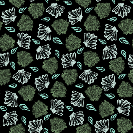 Vector seamless nautical pattern with shells in dark color. Abstract texture in nautical style. Simple hand drawn pattern with shells. Vintage retro print for textile and fabric. Summer background