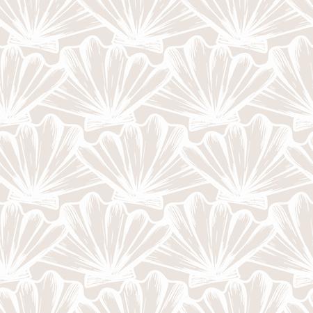 Motif nautique sans couture de vecteur avec des coquillages de couleur beige. Texture abstraite en bleu océan. Conception simple dessinée à la main avec des coquillages. Impression rétro vintage pour papier peint en tissu textile. Fond d'été Vecteurs
