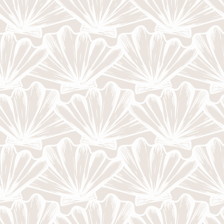 Vector seamless nautical pattern with shells in beige color. Abstract texture in ocean blue. Simple hand drawn design with shells. Vintage retro print for textile fabric wallpaper. Summer background