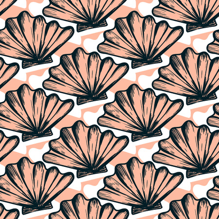 Vector seamless nautical pattern with shells. Abstract hand drawn texture on pink background. Simple hand drawn design with shell. Vintage retro print for textile fabric wallpaper. Summer background